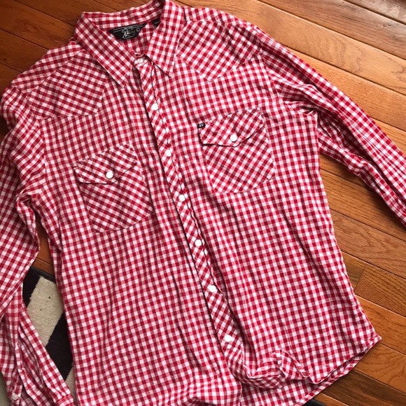 Salt Valley Other - Red and white check pearl snap button down